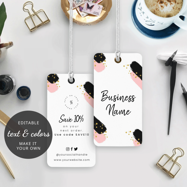 watercolour and glitter swing tag