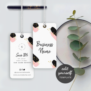 black and pink hanging tags design
