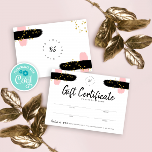 brush and glitter gift voucher