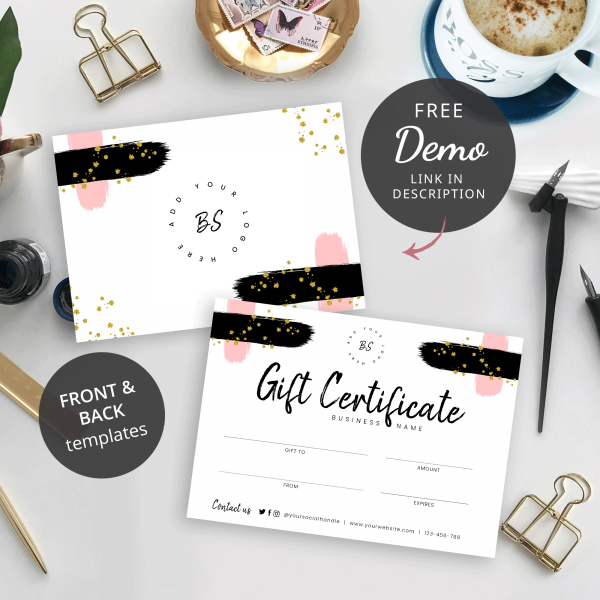 front and back gift certificate template