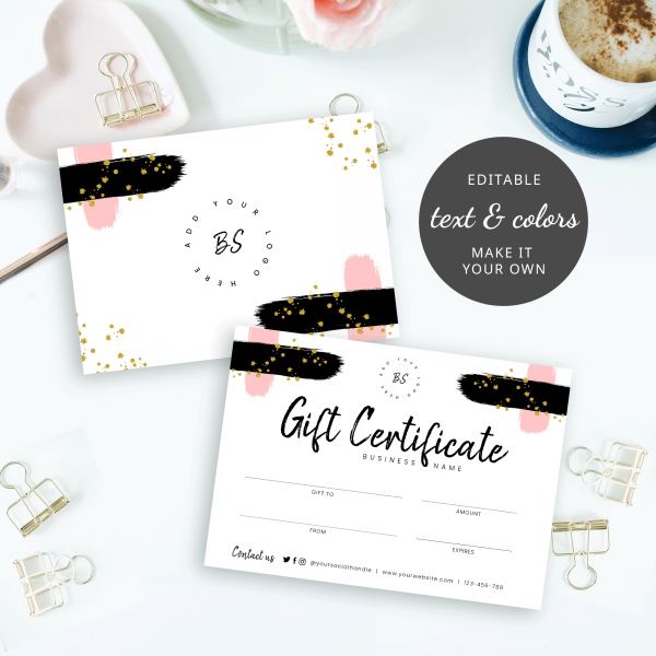 editable brush effect gift certificate design