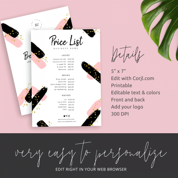 watercolour price list design