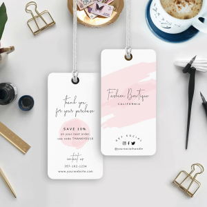 pink brush effect hang tags