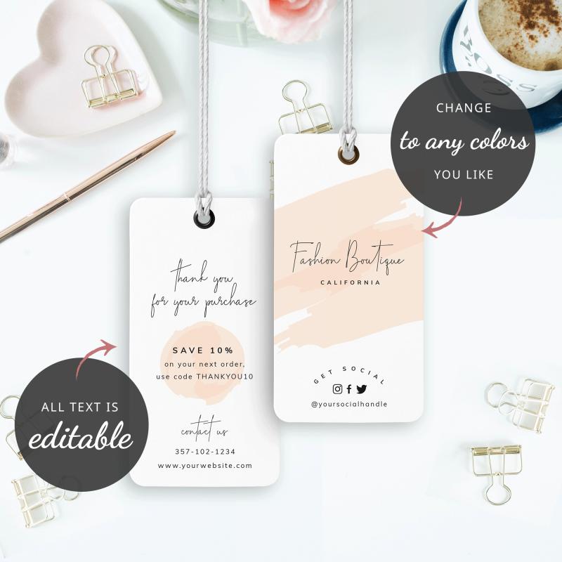 cream watercolour hang tag design