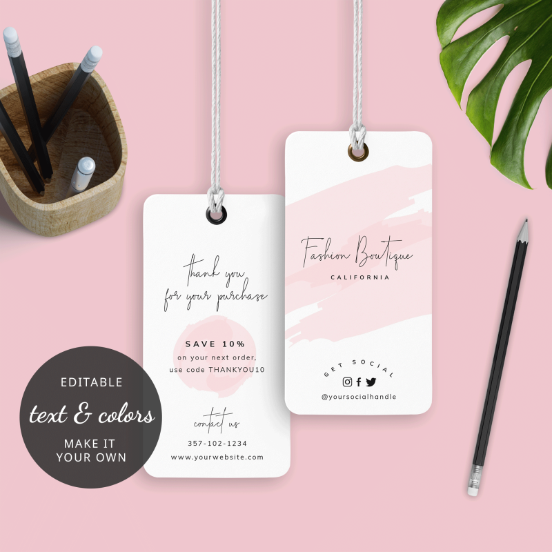 pink watercolour hanging tag template