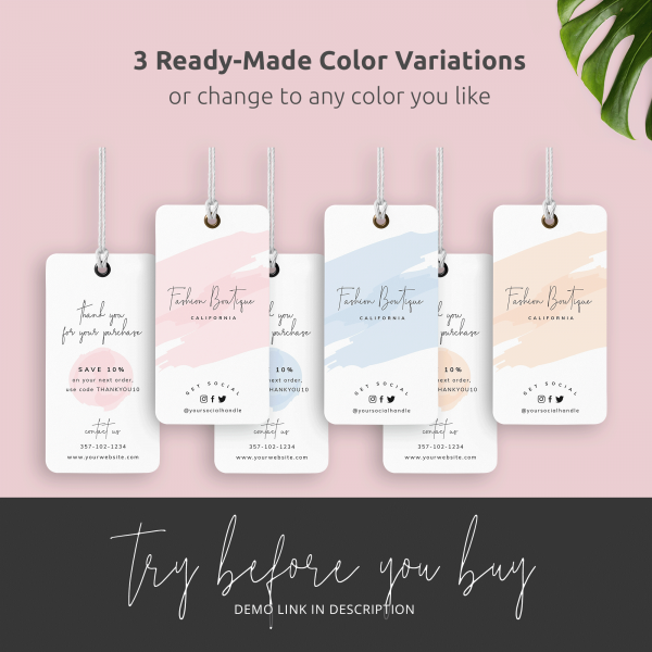 pink cream and blue hang tags