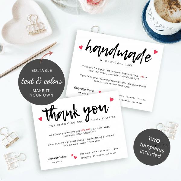 editable handmade with love card