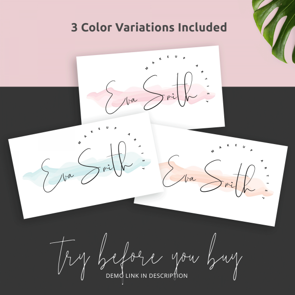feminine watercolour business cards template