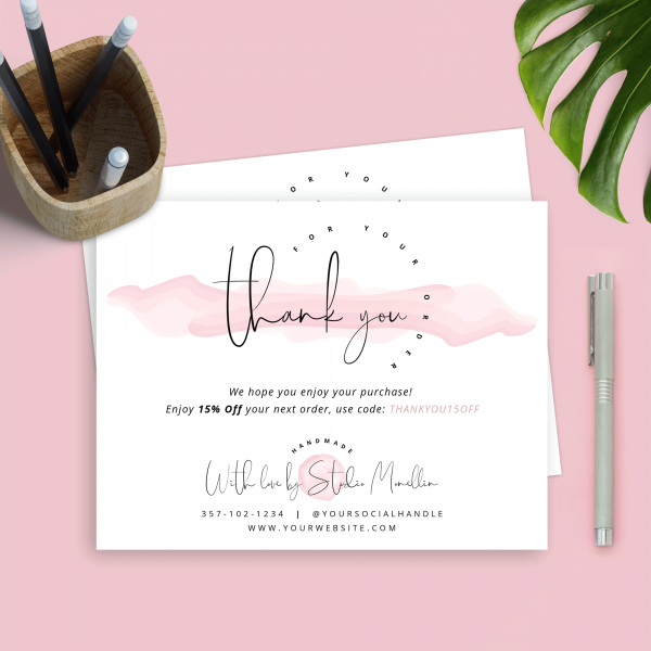 pink watercolour thank you notes for customers