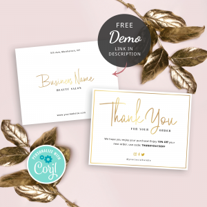 Faux gold business thank you notes for orders