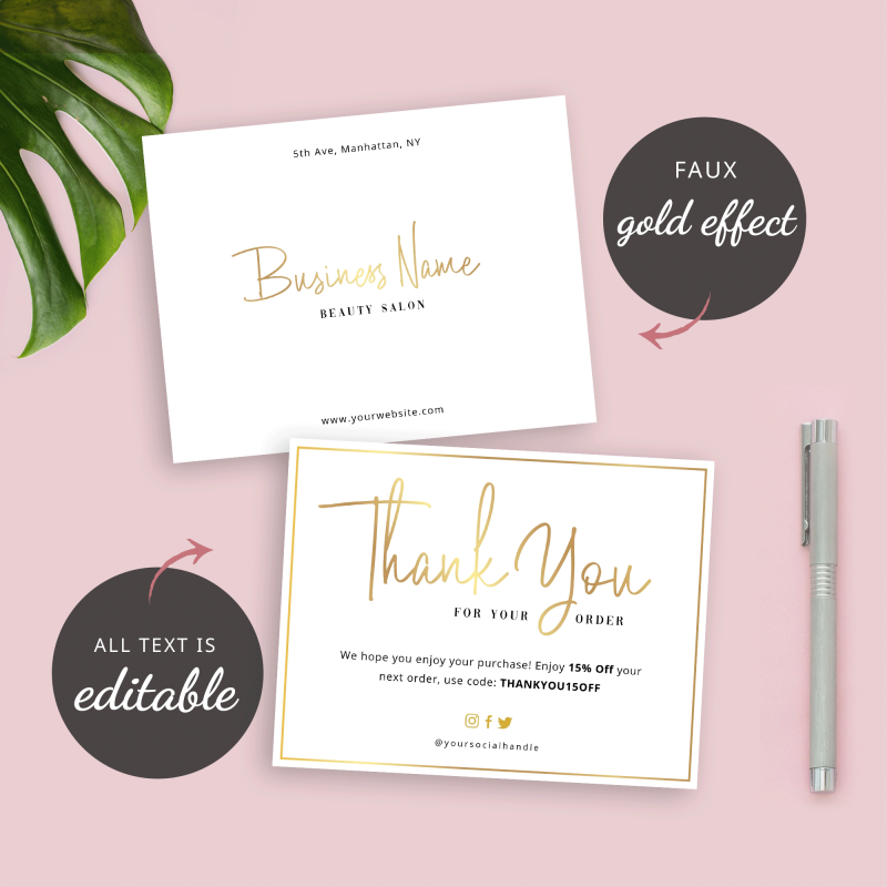 gold effect thank you for purchase template