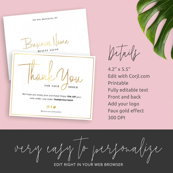 business thank you card details