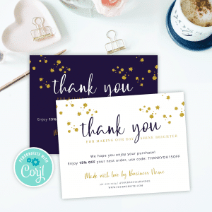 gold glitter thank you for order card