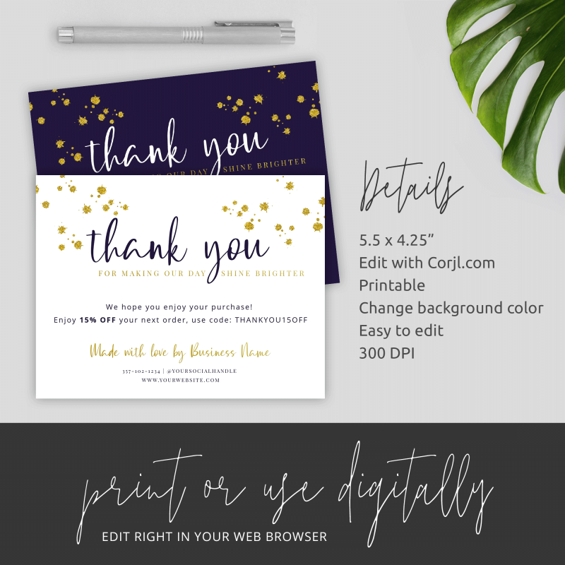 thank you for order card details