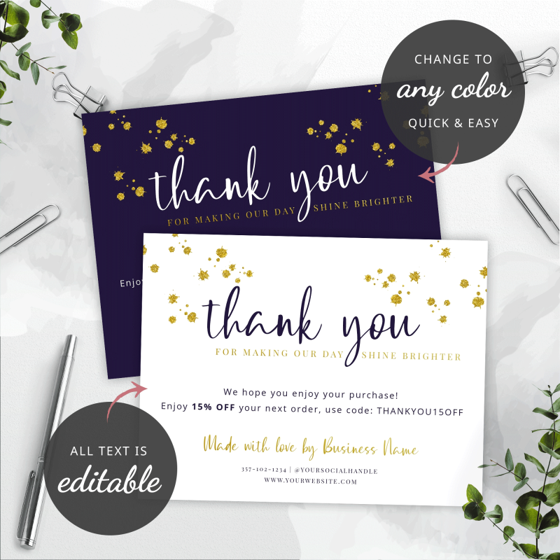 edit text and colors thank you cards