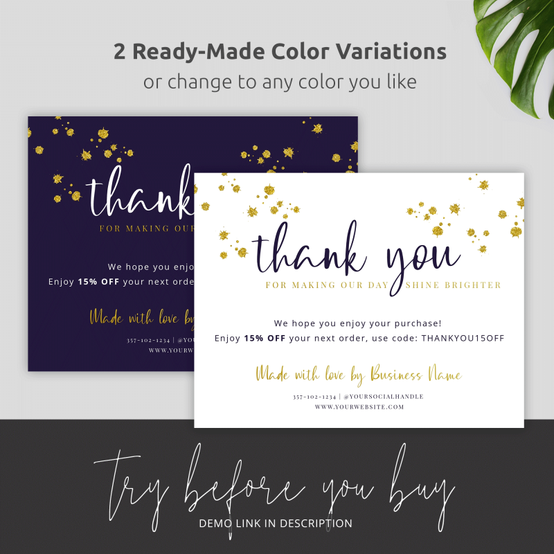 two colors thank you glitter card
