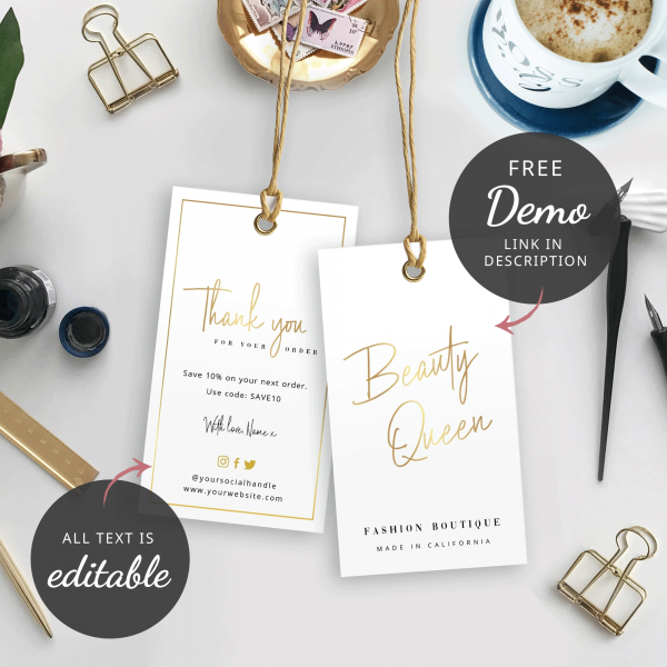 faux gold swing tag