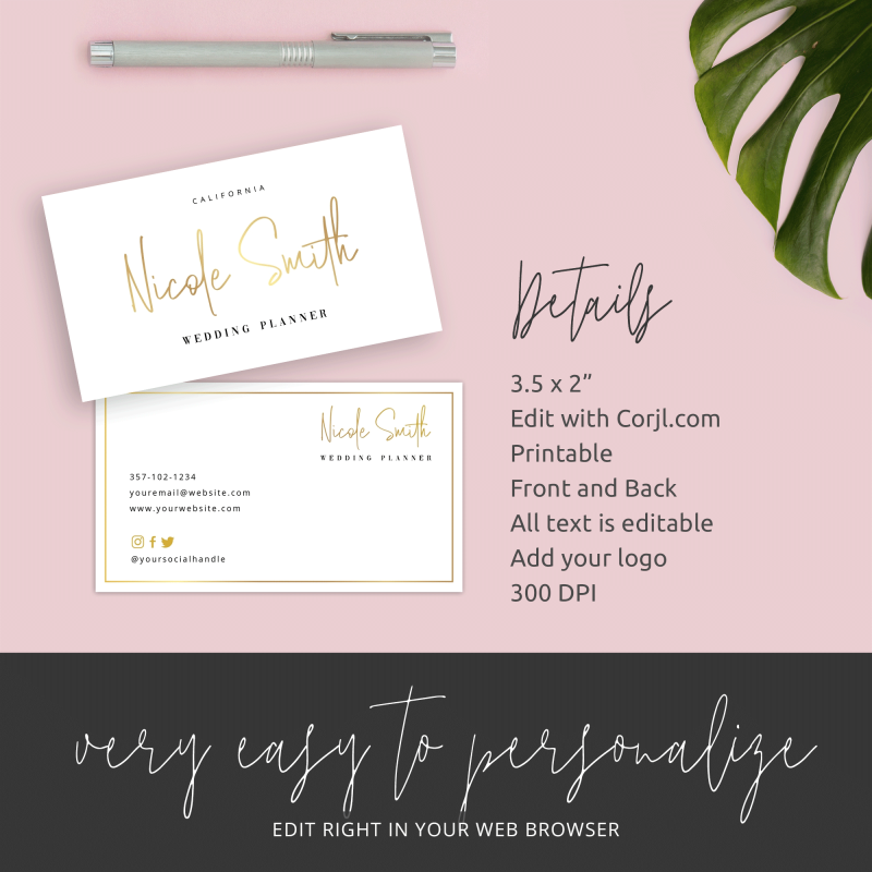 metallic effect business card