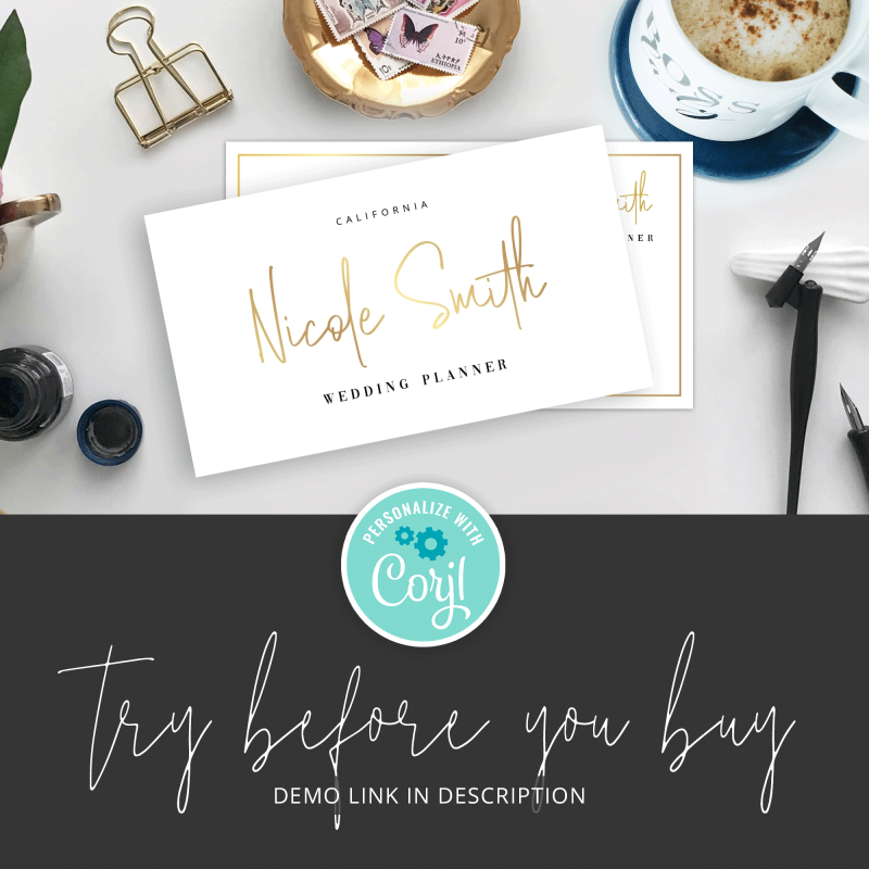 gold foil company cards template