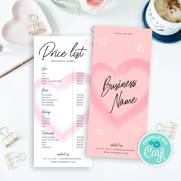 price menu design