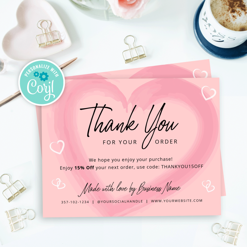 pink heart printable thank you cards