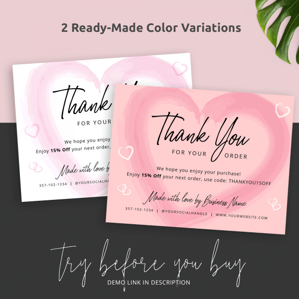 white and pink editable thank you cards