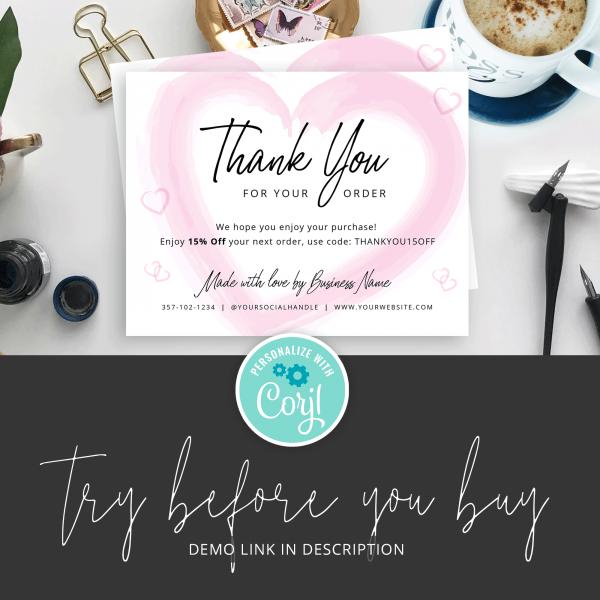 demo link for thank you card