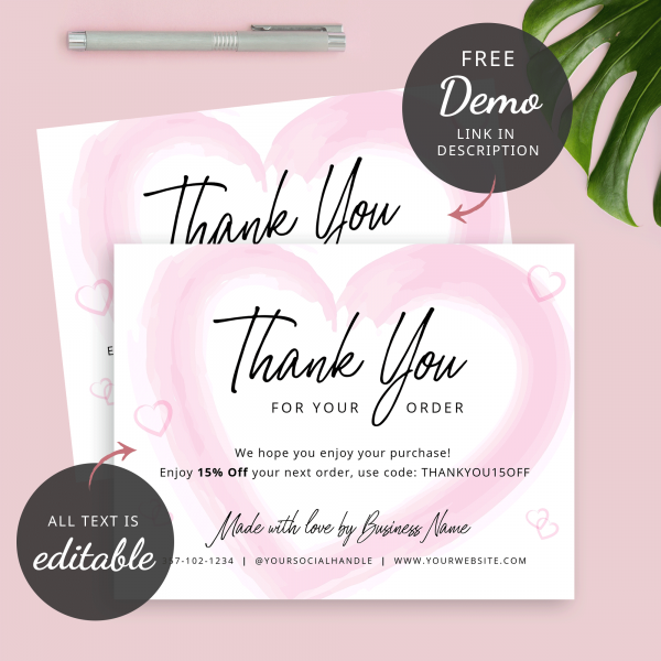 editable business thank you card