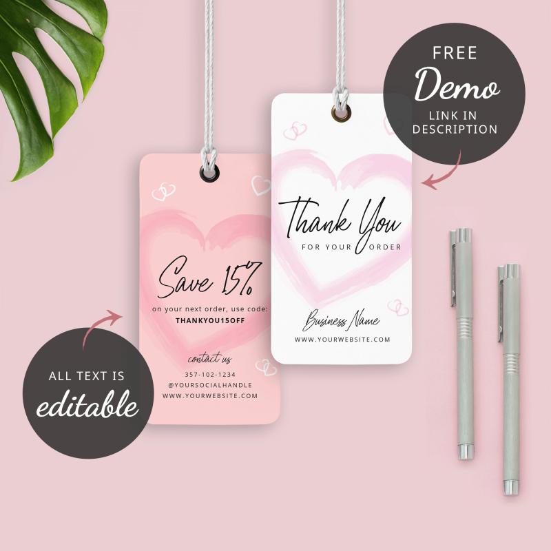 pink heart hang tag