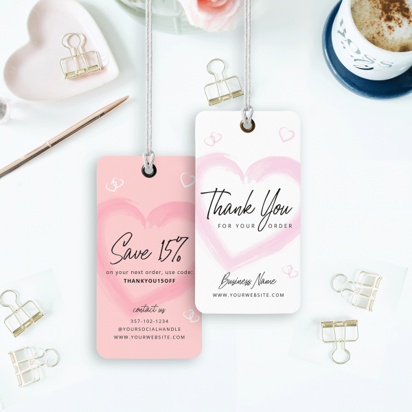 pink thank you tag design