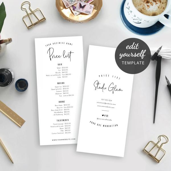 minimalist price list menu