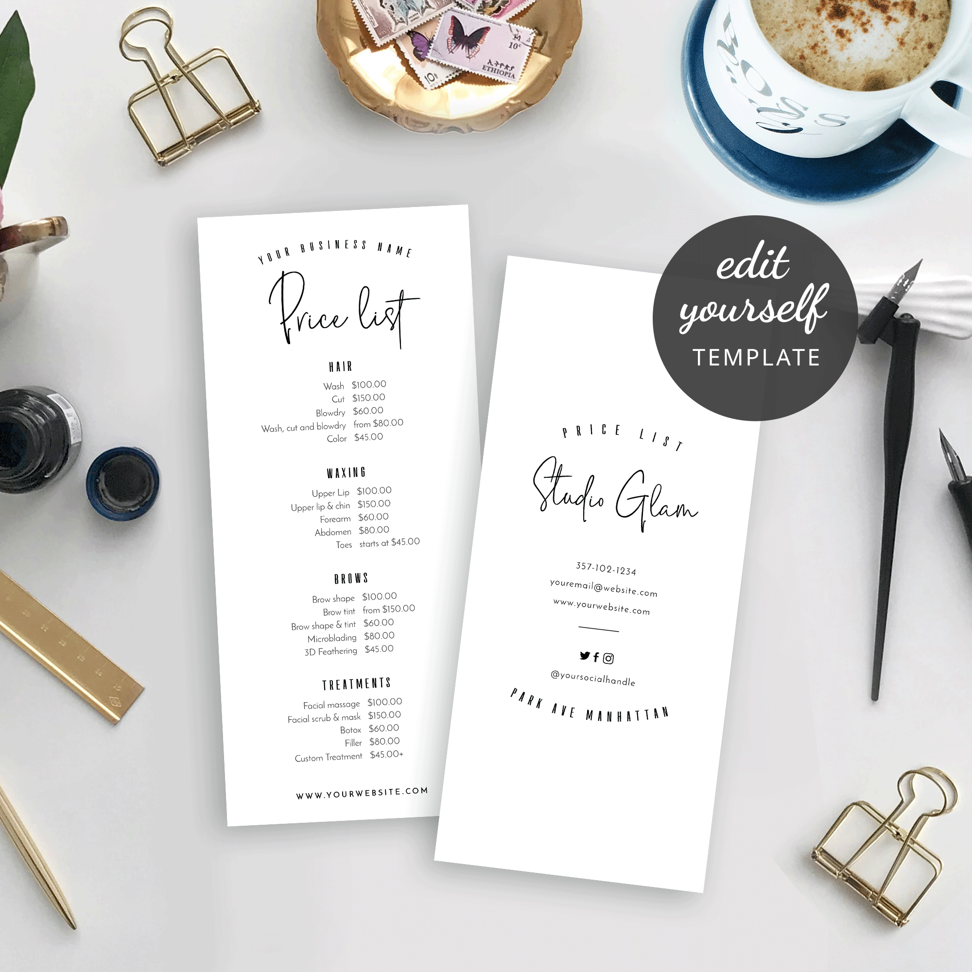 Diy Price List Template Printable Price List Minimalist Menu Design