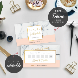 marble and gold loyalty cards