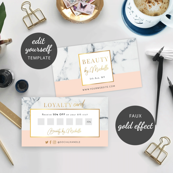 marble and metallic rewards cards