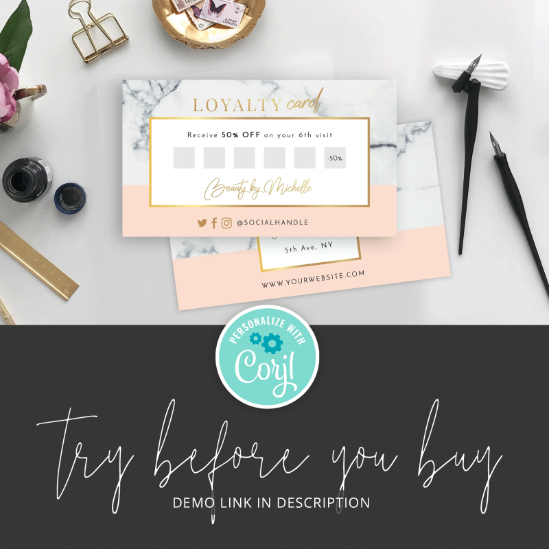 beauty salon loyalty card template