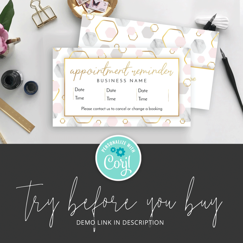 try it marble booking card template
