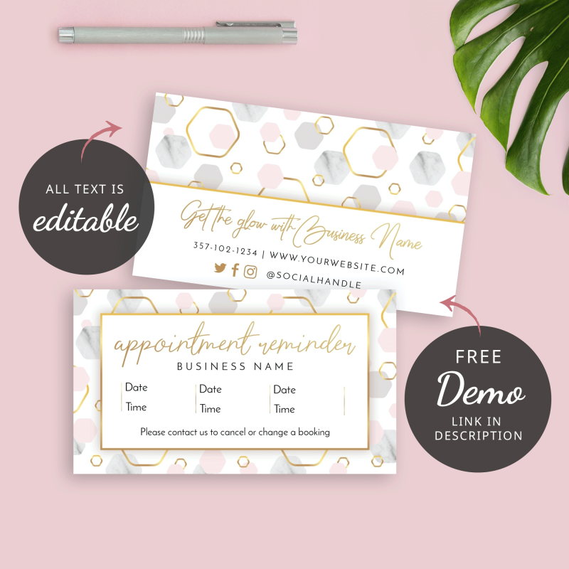 printable marble appointment card design