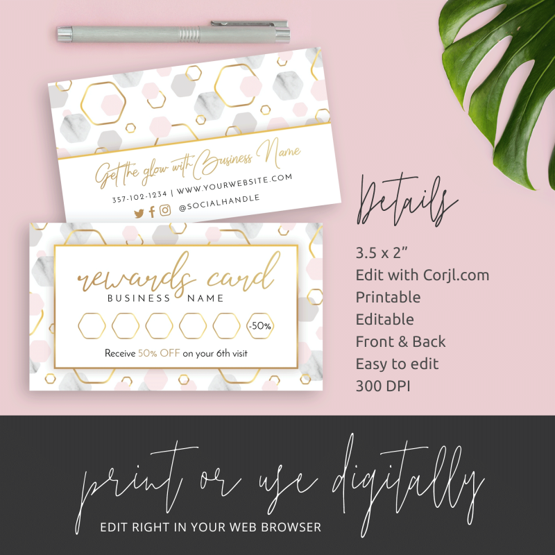 marble and metallic stationery rewards card
