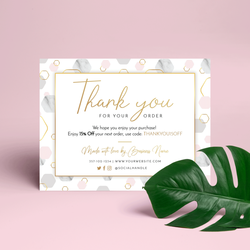 marble hexagon thank you note template