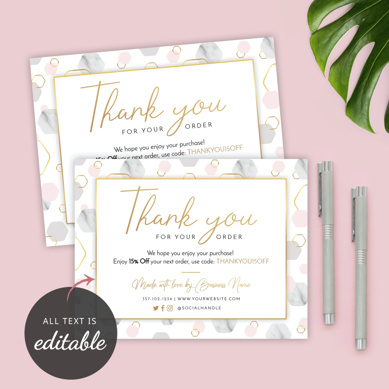 editable thank you for purchase cards