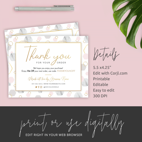 marble and gold thank you card details