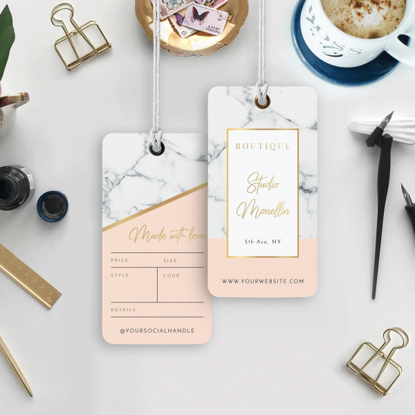 marble hang tag design