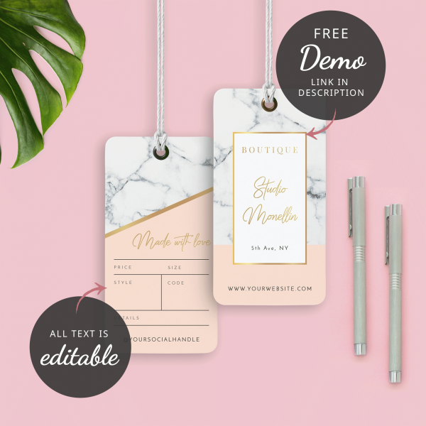 marble and cream swing tag