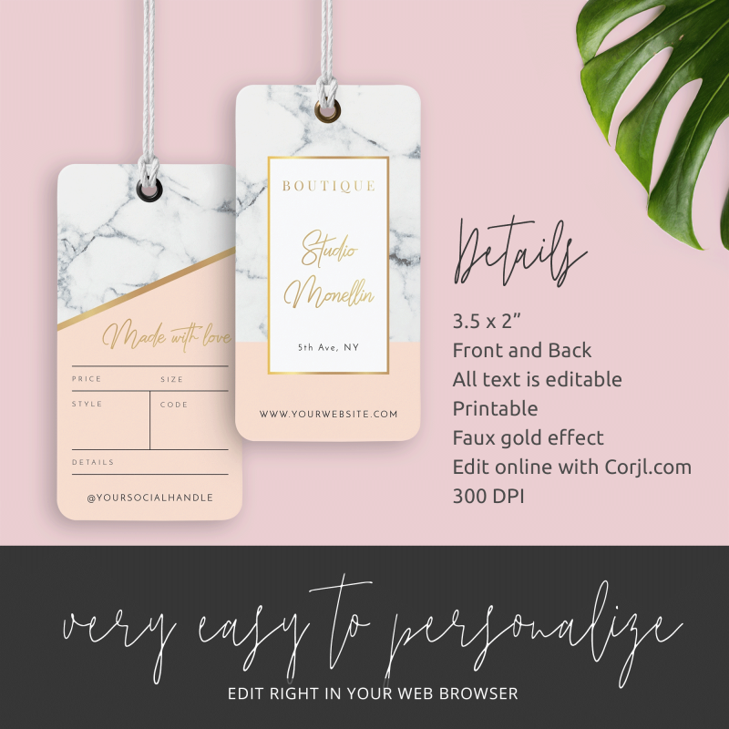 marble effect clothing hang tags