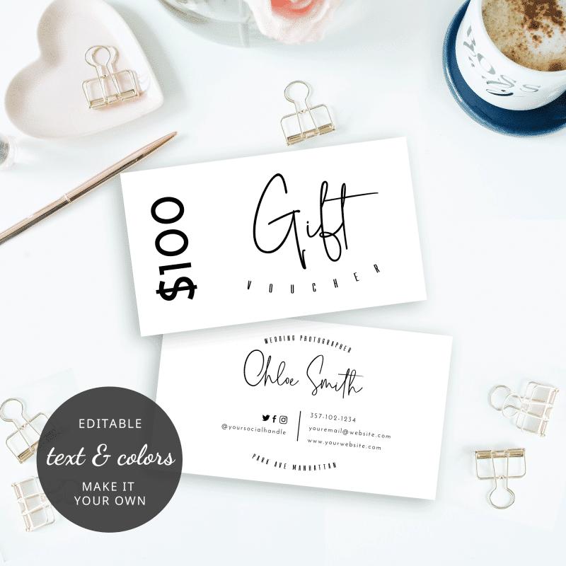 small editable gift voucher