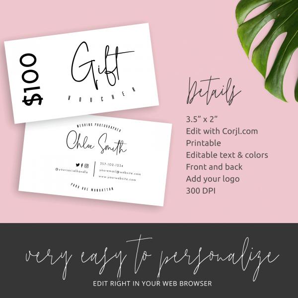 minimalist gift certificate design
