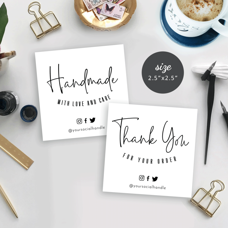 minimalist mini thank you for order cards