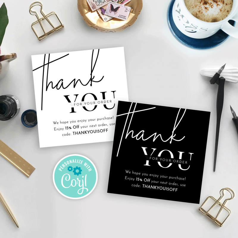 black and white thank you for order card