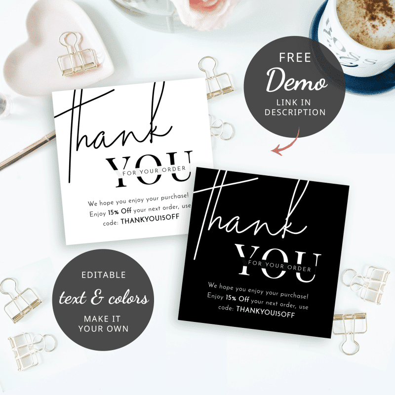 minimalist thank you for purchase card
