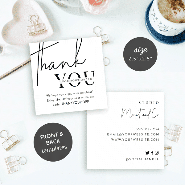 white thank you customer note